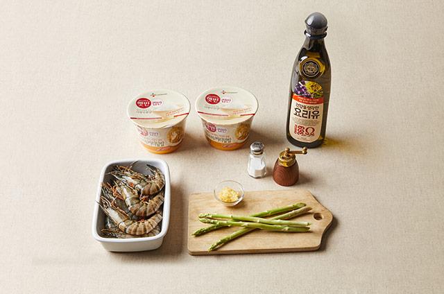 새우 아스파라거스 커리덮밥 만들기 2단계 사진