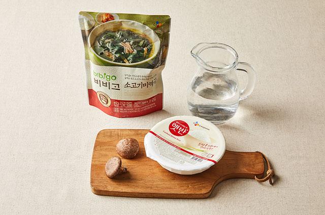 표고버섯 소고기미역죽 만들기 2단계 사진