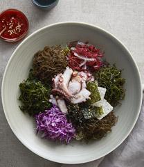 문어숙회 해초비빔밥